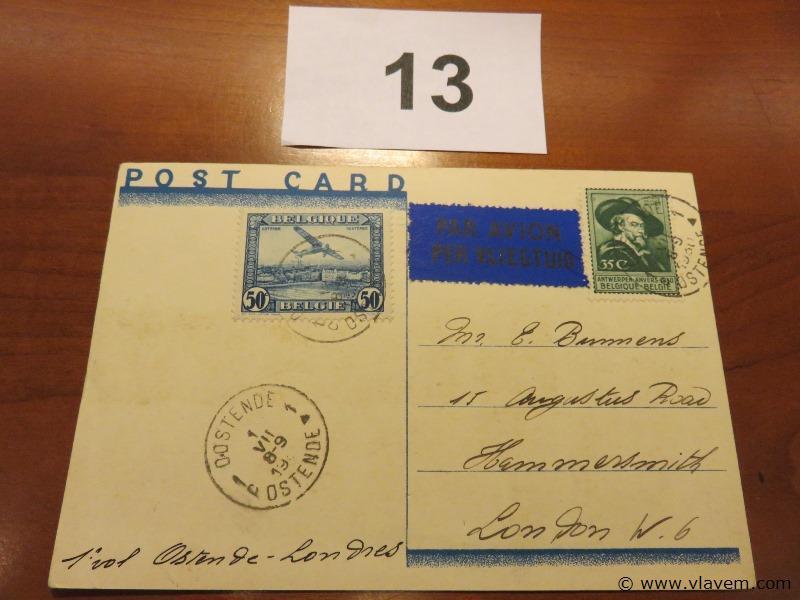 Postkaart Antwepren 1930 luchtpost