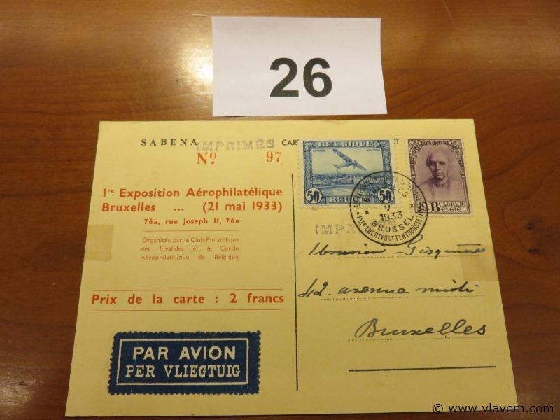 Postkaart Sabena luchtpost