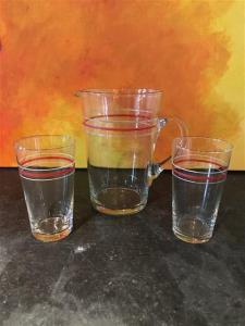 Vintage schenkkan + 2 glazen