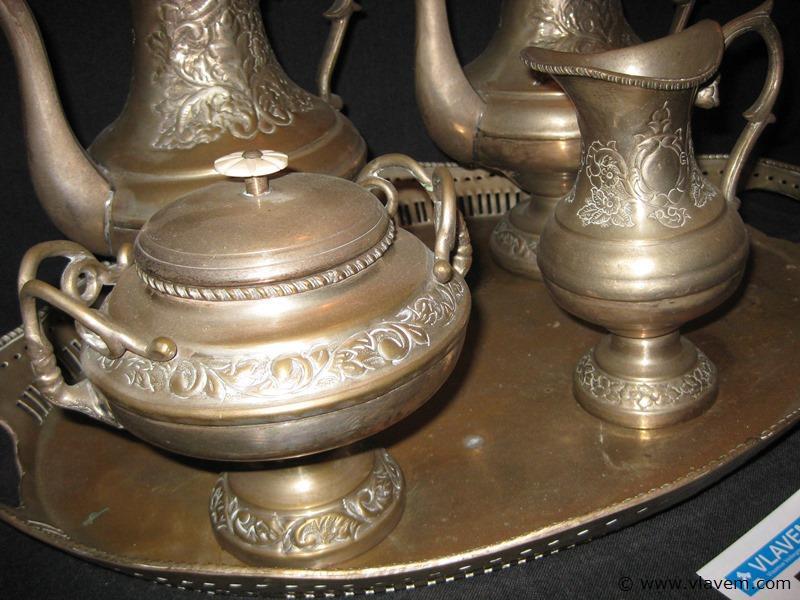 Zeer oud art deco koffie en theeset met dienblad van 53cm