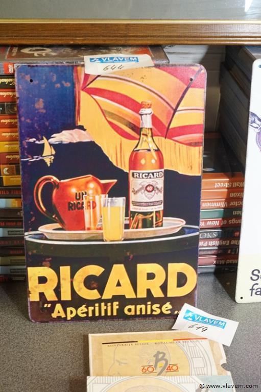 Reclameplaatje in metaal afbeelding Ricard