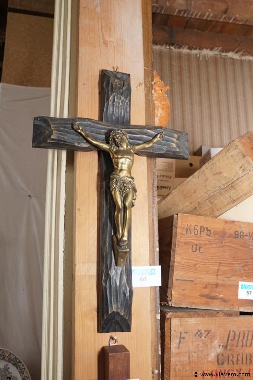 Kruisbeeld in koper en hout