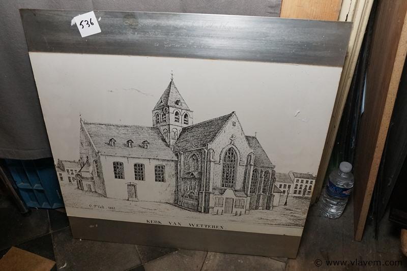 Tekening op ijzer plaat de kerk van Wetteren