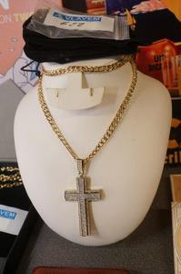 Gold plated hip hop ketting met kruis met steentjes