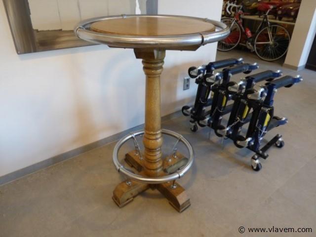 Houten ronde tafel vintage