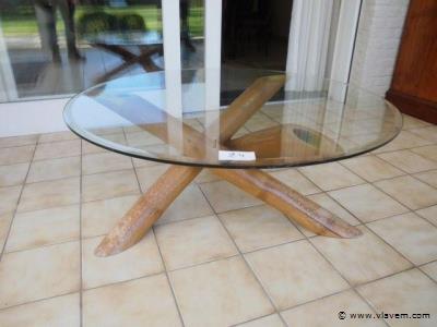 design salontafel. Geslepen glas.