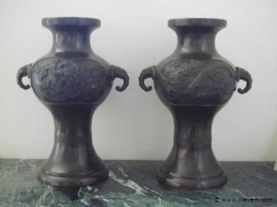 koppel bronzen vazen H30