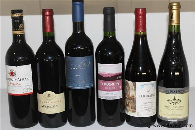 6 flessen wijn rood assortie,