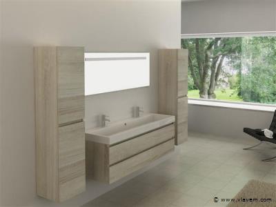Badkamermeubel GRENO | 150 cm | 2-persoons | Licht hout decor met witte wasbak