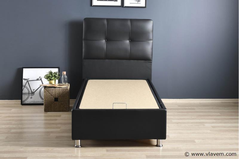 Bed met opbergbox Deluxe Zwart PU 90 cm