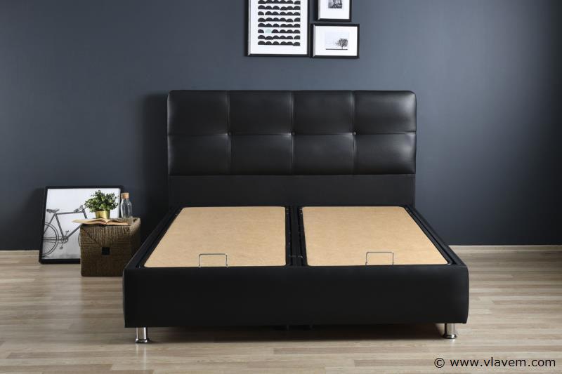 Bed met opbergbox Deluxe Zwart PU 140 cm