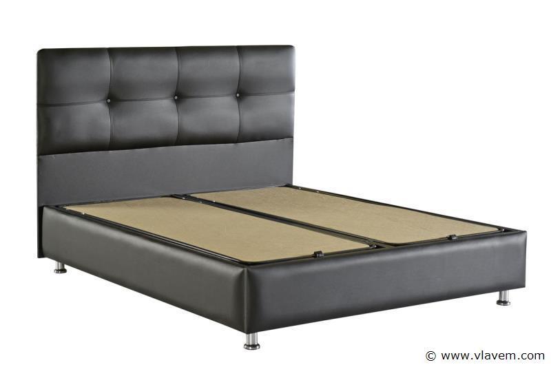 Bed met opbergbox Deluxe Zwart PU 160 cm