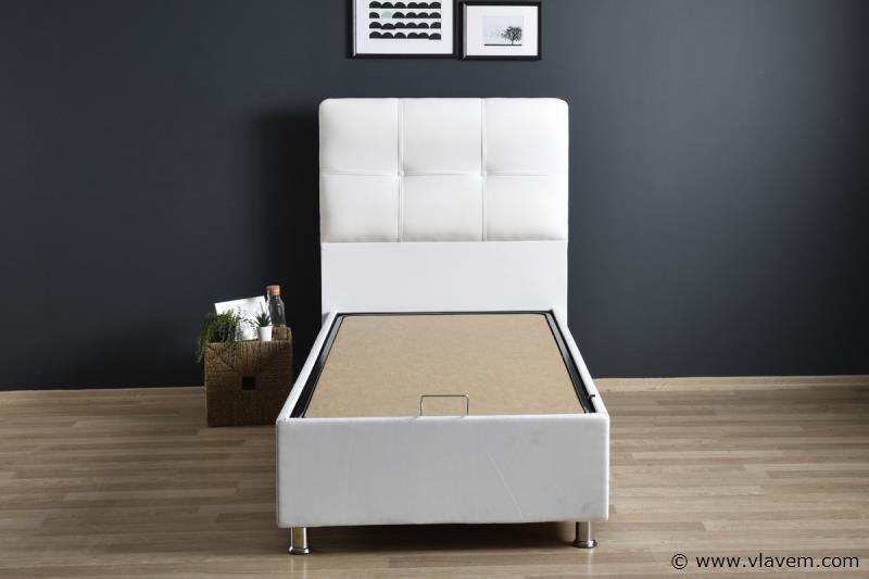 Bed met opbergbox Deluxe Wit PU 90 cm