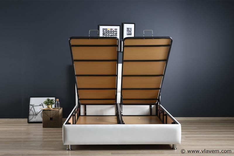 Bed met opbergbox Deluxe Wit PU 140 cm