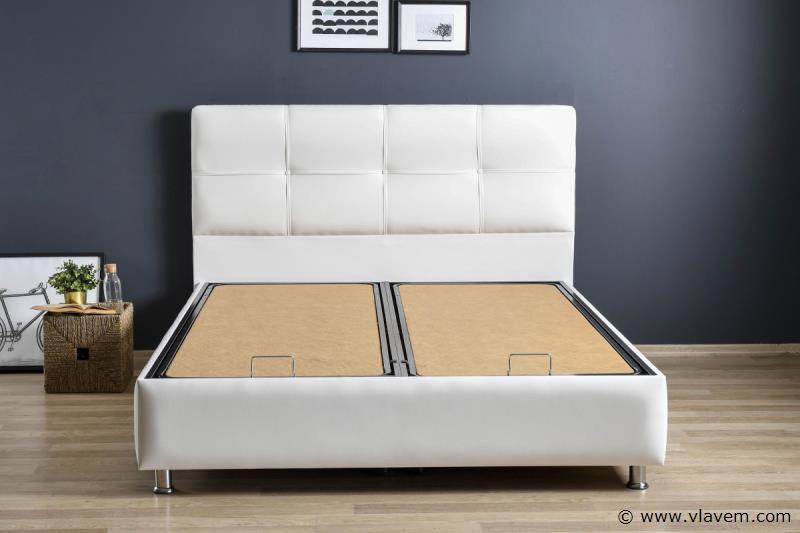Bed met opbergbox Deluxe Wit PU 160 cm