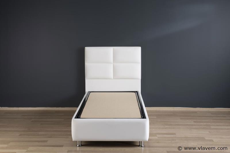 Bed met opbergbox Hypersoft Wit PU 90 cm
