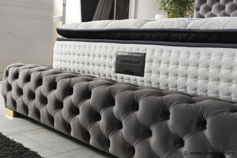 Bed met opbergbox Castello Anthracite Velvet 160 cm