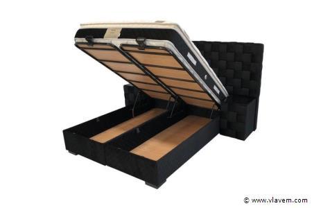 Bed met opbergbox Opiness Black Velvet 160 cm