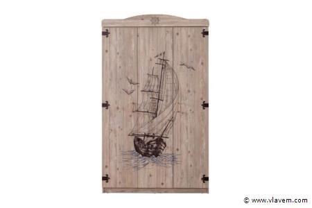 Marin houten kledingkast 3 deuren