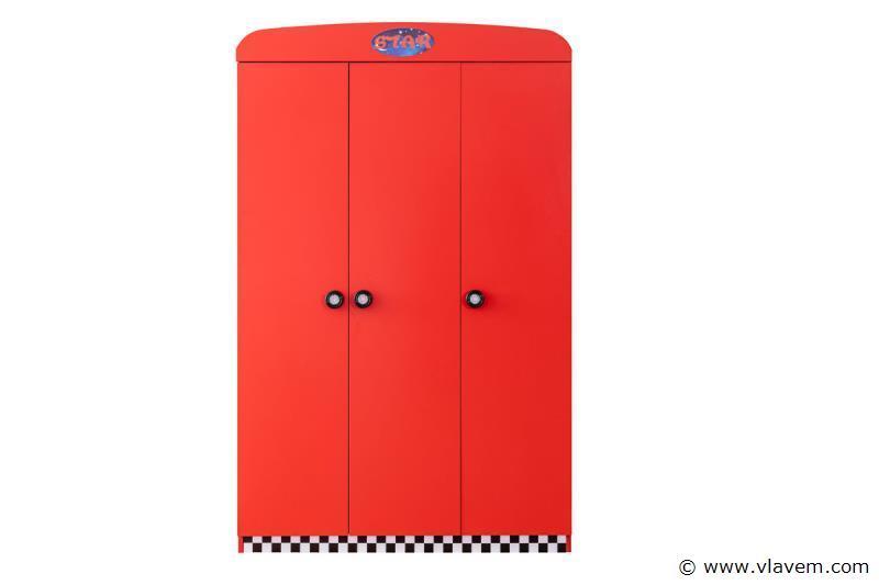 Turbo kledingkast 3 deuren Rode