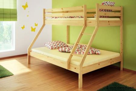 Natuurlijk houten stapelbed