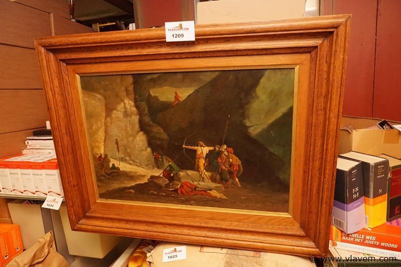 Oude schilderij op doek met eiken kader afm 77 cm x 60 cm
