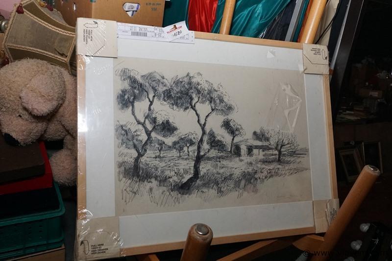 Kader getekend en genummerd afm 80 cm x 61 cm