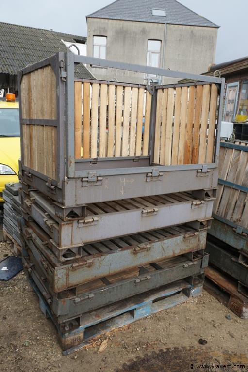 Inplooibare stapelbakken in hout en metaal euroformaat 4 stuks