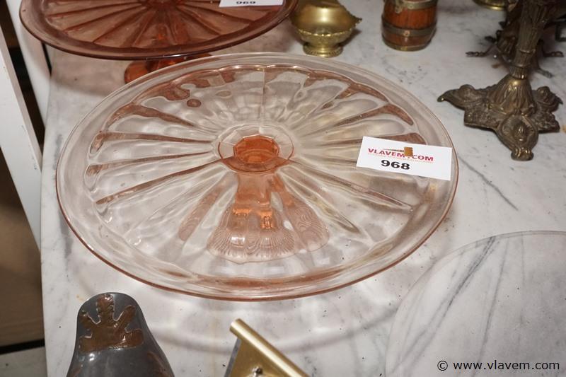 Oude taartschotel in glas dia 30 cm