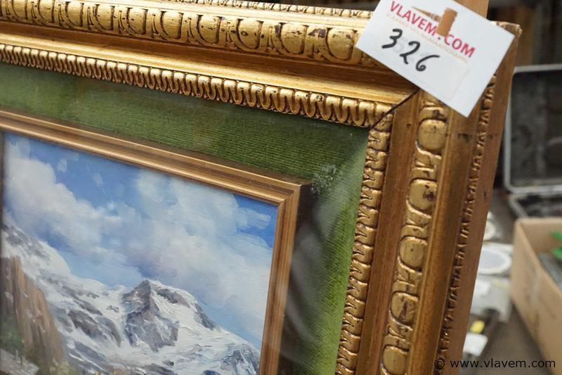 Schilderij op doek achter glas