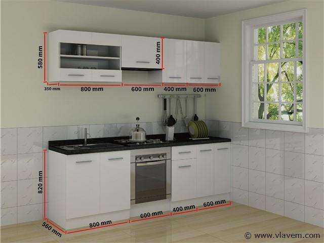 rechte keuken, hoogglans wit