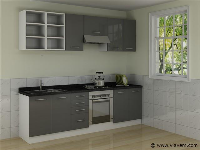 rechte keuken, hoogglans antraciet
