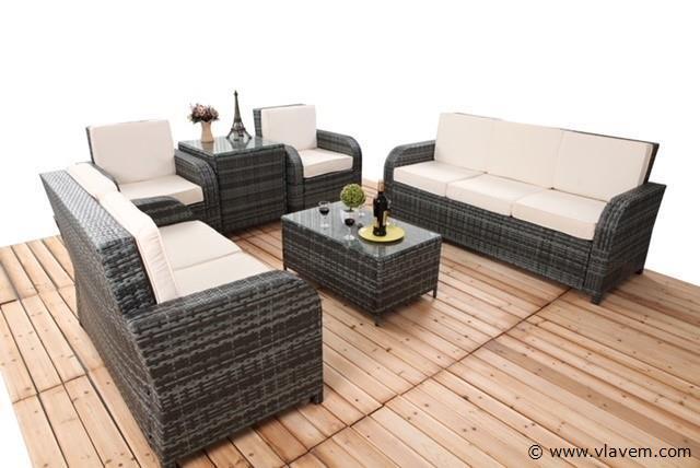 lounge set, 6 delig, grijs