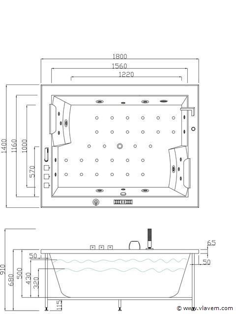 2 Persoons massagebad, 180x141cm.