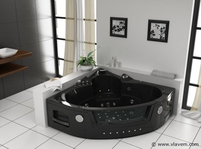 2 Persoons massagebad, 152x152cm. zwart
