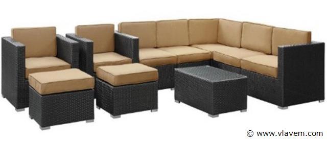 Lounge set zwart vlechtwerk