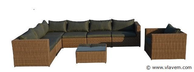 Lounge set, half rond vlechtwerk