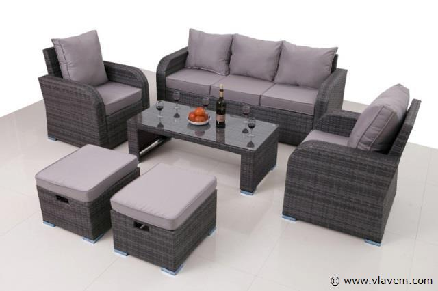 Lounge set met 2 losse fauteuils