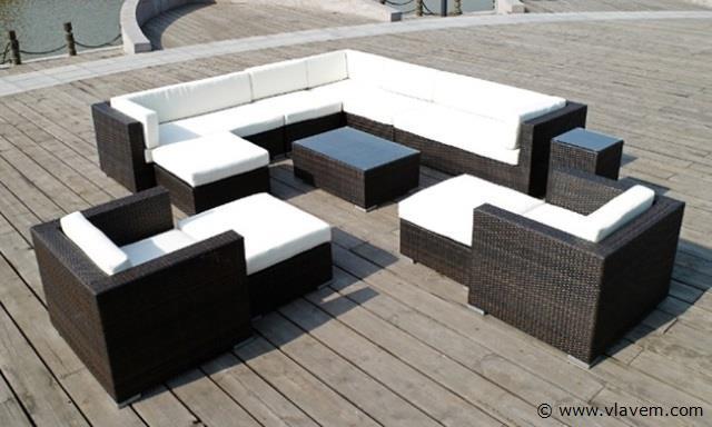 Lounge set met 3 hockers