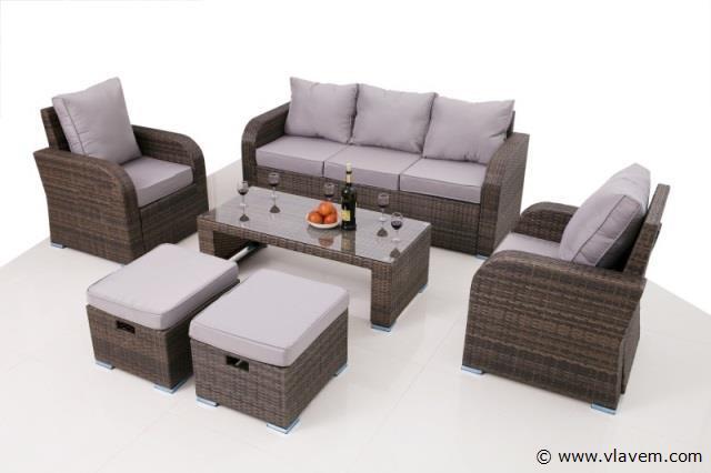 Lounge set met 2 losse fauteuils