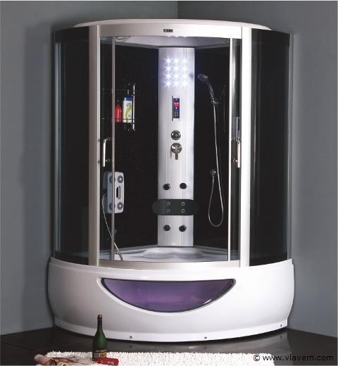 Stoomcabine met massagebad, 135x135cm.