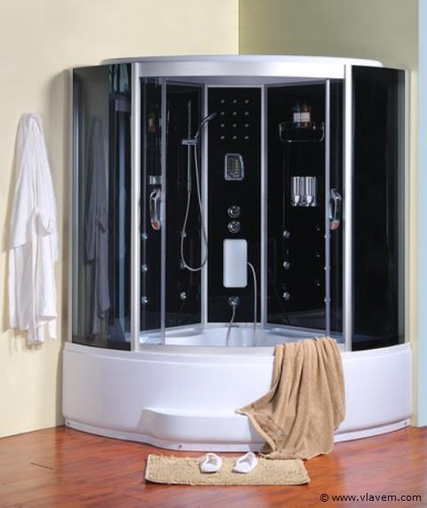 Stoomcabine met massagebad 150x150cm.